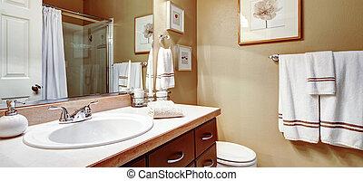 fürdőszoba, gondolat, lakberendezési tárgyak