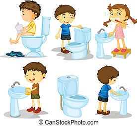 fürdőszoba, gyerekek, segédszervek