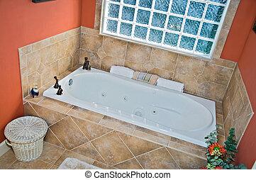 fürdőszoba, kád, terület