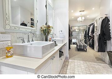 fürdőszoba, köntös, kortárs, jár