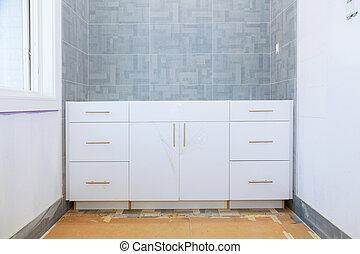 fürdőszoba, kijavít, szerkesztés, alatt, belső, új, drywall