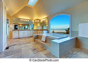 fürdőszoba, kilátás, ablak, bámulatos, buja, örvény