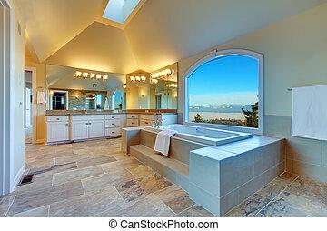 fürdőszoba, kilátás, bámulatos, buja, örvény, ablak