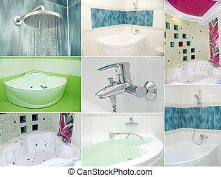 fürdőszoba, kollázs