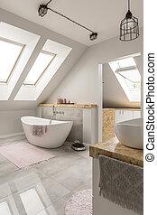 fürdőszoba, márvány, freestanding, fürdőkád