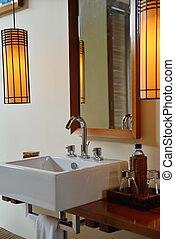 fürdőszoba, modern, fényűzés