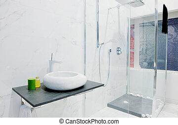 fürdőszoba, modern, fürdőkád, belső, új, kád