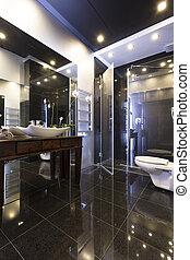 fürdőszoba, modern, finomság