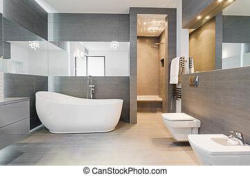fürdőszoba, modern, freestanding, fürdőkád