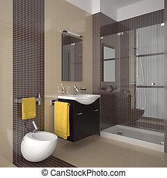 fürdőszoba, modern, nyersgyapjúszínű bezs