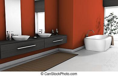 fürdőszoba, modern, piros