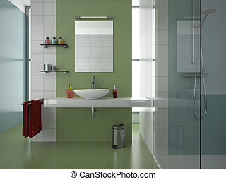 fürdőszoba, modern, zöld