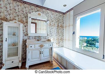 fürdőszoba, nézet, szüret, belföldiek, modern, house., nagy, ablak, sea., bathroom., új, style., berendezés