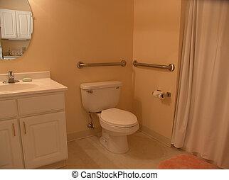 fürdőszoba, noha, megragad, rács