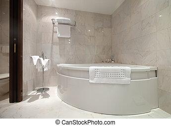 fürdőszoba, noha, sarok, fürdőkád