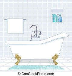fürdőszoba, noha, szüret, mód, fürdőkád
