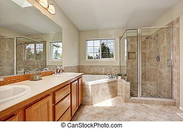 fürdőszoba padló, fiatalúr, cserép, sarok, fürdőkád