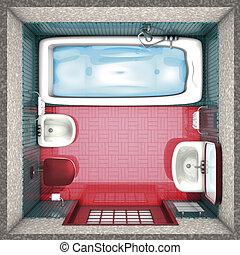 fürdőszoba, piros tető