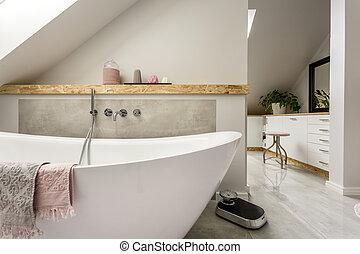 fürdőszoba, szürke, freestanding, fürdőkád