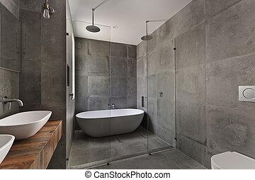 fürdőszoba, szoba, modern, fényűzés