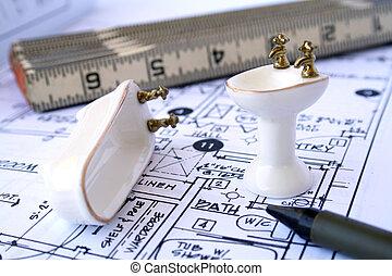 fürdőszoba, tervezés
