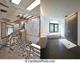 fürdőszoba, után, helyreállítás, előbb