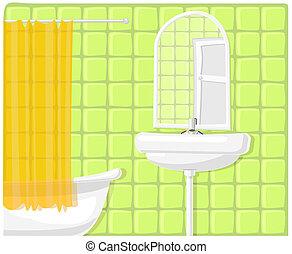fürdőszoba, vektor, ábra