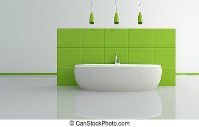 fürdőszoba, zöld, kortárs