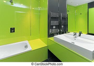 fürdőszoba, zöld