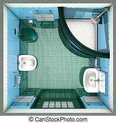 fürdőszoba, zöld tető