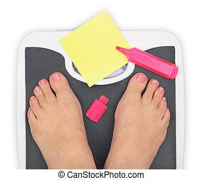 fürdőszobai-mérleg, notepaper, lábak, dél, woman', tiszta