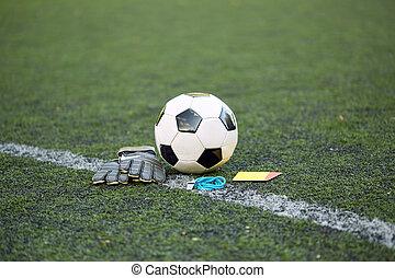 fütty, mező, kártya, focilabda, pár kesztyű