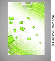 füvészkönyv, pirula, icon.environment, háttér, vektor, ábra
