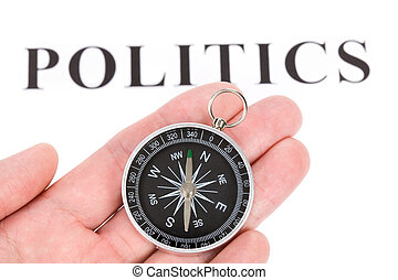 főcím, politika, és, iránytű