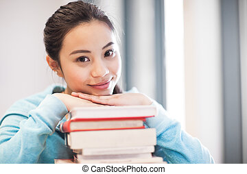 főiskola, ázsiai, diák