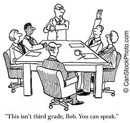 főnök, őt mond, a, asssociate, ő, konzerv, speak.