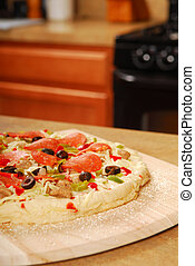 főtlen, pizza, képben látható, egy, fából való, hámlik