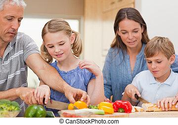 főzés, együtt, bájos, család