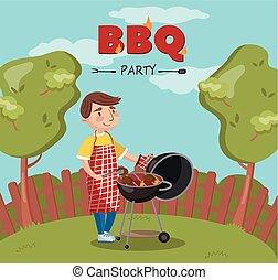 főzés, grill, lángoló, fiatal, ábra, vektor, udvar, grillsütő, fél, kerti-parti, ember