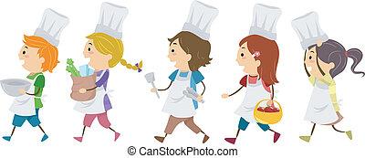 főzés, gyerekek