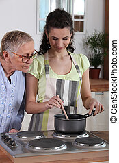 főzés, helyett, öregedő woman