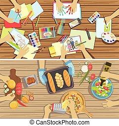 főzés, két, látható, egyetlen, hajó, felül, kézbesít, ábra, asztal, feladat, gyerekek