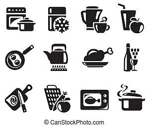 főzés, konyha, ikonok