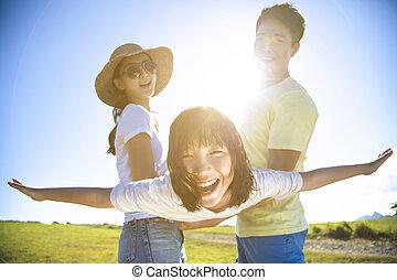 fű, játék, család, boldog