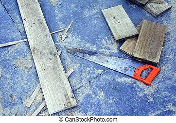 fűrész, szerszám, -, dolgozó, eszközök