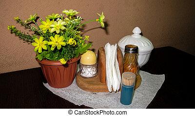 fűszeráruk, képben látható, egy, kevés, asztal, alatt, cafe.