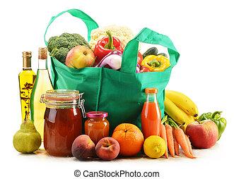 fűszerüzlet bevásárlás, táska, termékek, háttér, zöld white