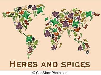fűszernövény fűszer, lakás, ikonok, alatt, világ térkép, alakít