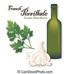 fűszernövény, persillade, keverék, francia