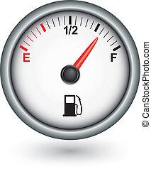 fűtőanyag, autó, vektor, ábra, megmér
